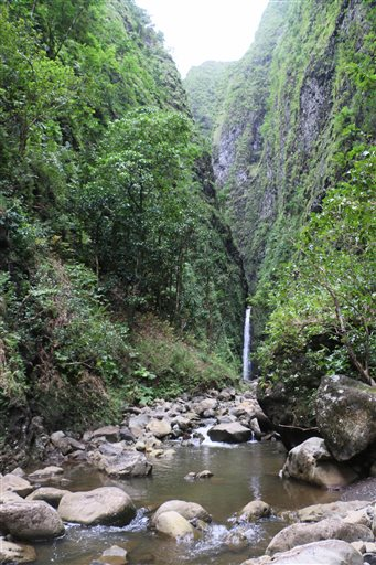 This Oct. 11, 2014 photo provided by the Hawaii state Department of Land and Natural Resources shows Sacred Falls in Hauula, Hawaii. The state is pushing back against hikers who continue to illegally visit the waterfall in a closed state park with...