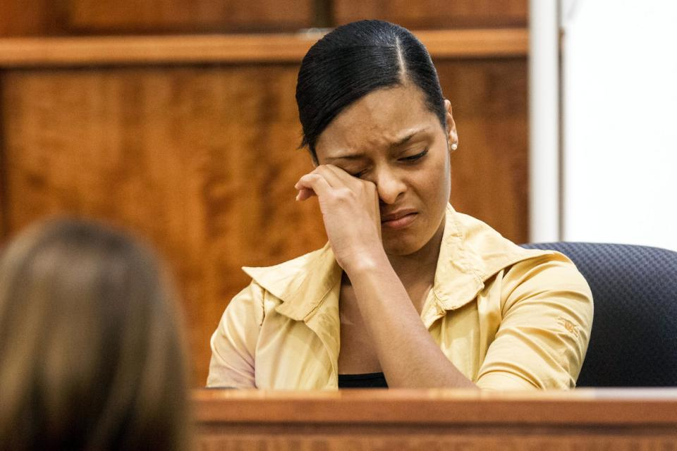 Shaneah Jenkins testifies during the murder trial of former New England Patriots player Aaron Hernandez at Bristol County Superior Court in Fall River, Mass., Tuesday, Feb. 3, 2015. Hernandez is accused of the June 2013 killing of Odin Lloyd,...