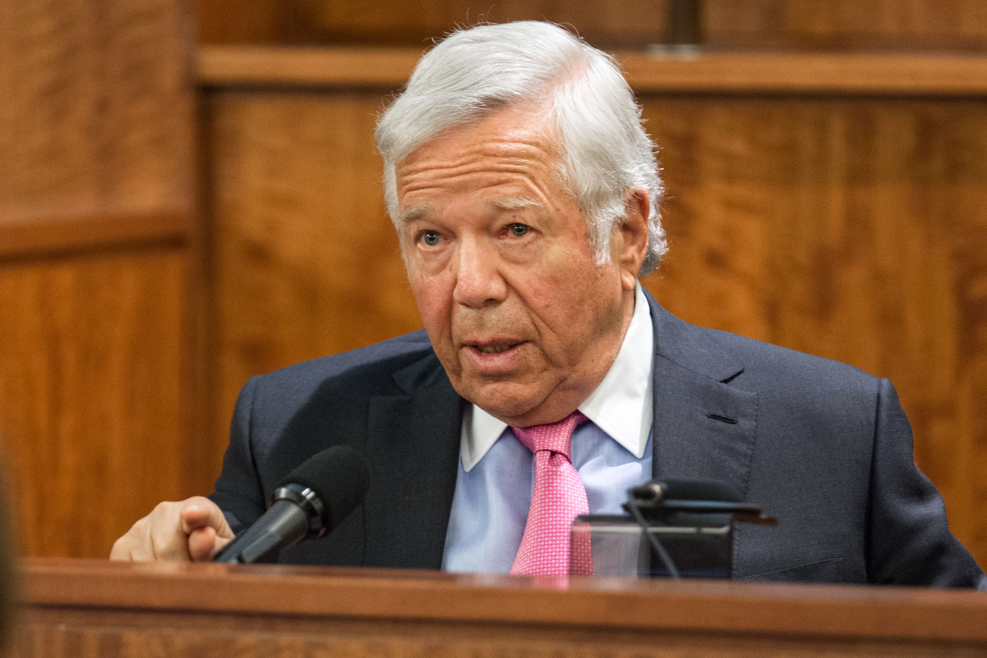 New England Patriots owner Robert Kraft testifies during the murder trial of former Patriots football player Aaron Hernandez, Tuesday, March 31, 2015, at Bristol County Superior Court in Fall River, Mass. Hernandez is accused of killing Odin Lloyd...