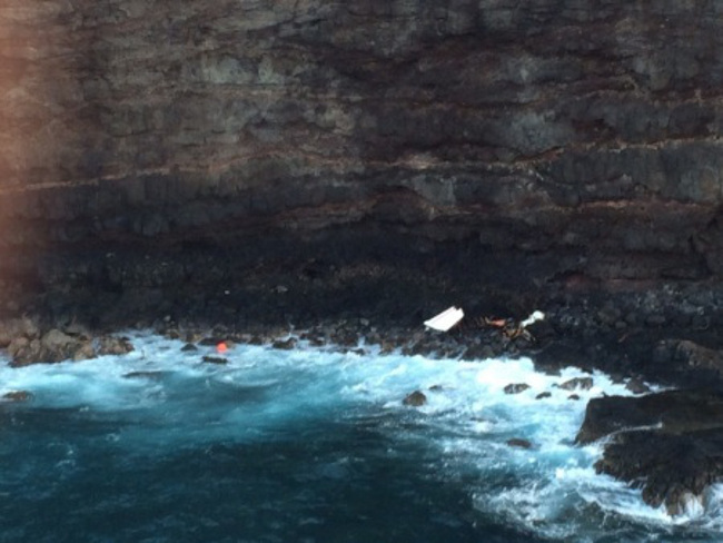 This image is of a debris field located off Lanai, April 24, 2015. The Coast Guard rescued one man and continues searching for another after 34-foot fishing vessel Munchkin ran aground on rocks approximately one mile west of Lanai. (Courtesy U.S....