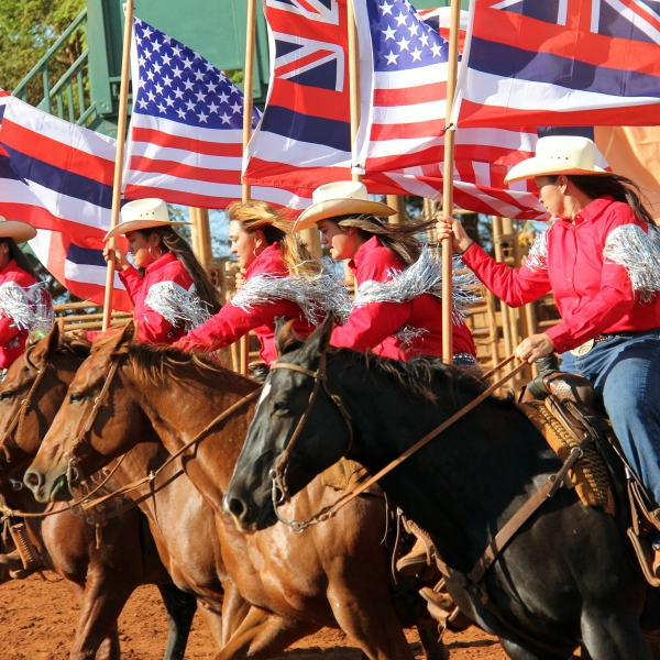 Molokai Ranch Heritage Rodeo 2013 (Flag girls during opening ceremony 2013)_89906