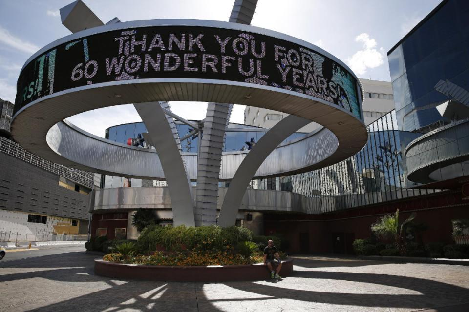 A sign thanks customers outside of the Riviera hotel and casino Monday, May 4, 2015, in Las Vegas. The casino will close down at noon on Monday. (AP Photo/John Locher)