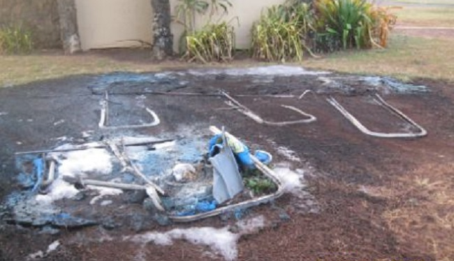 kaiaka bay beach park porta potty fire vandalism_144703