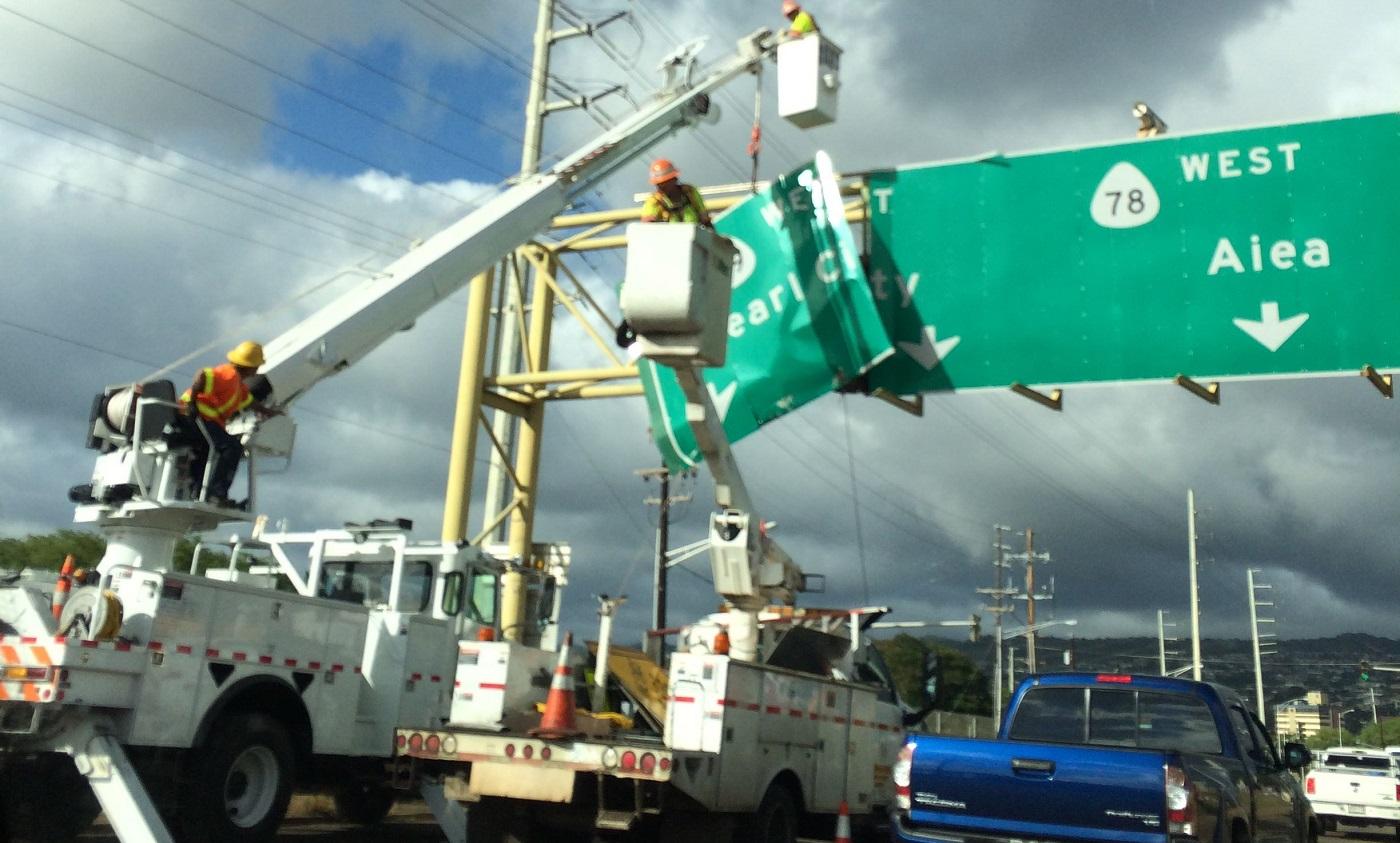 kamehameha highway sign replacement_143682