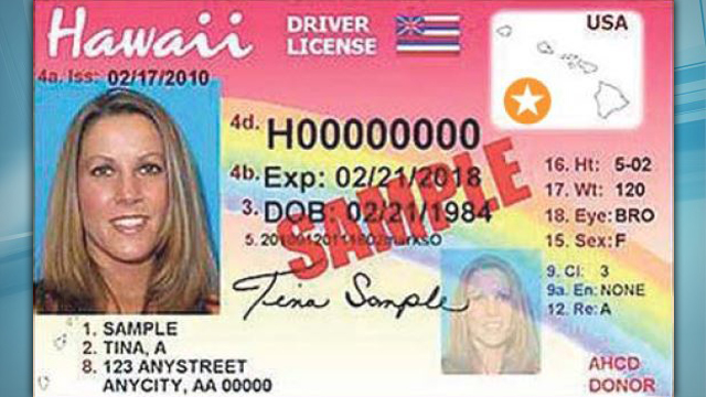 new hawaii drivers license with star_237286