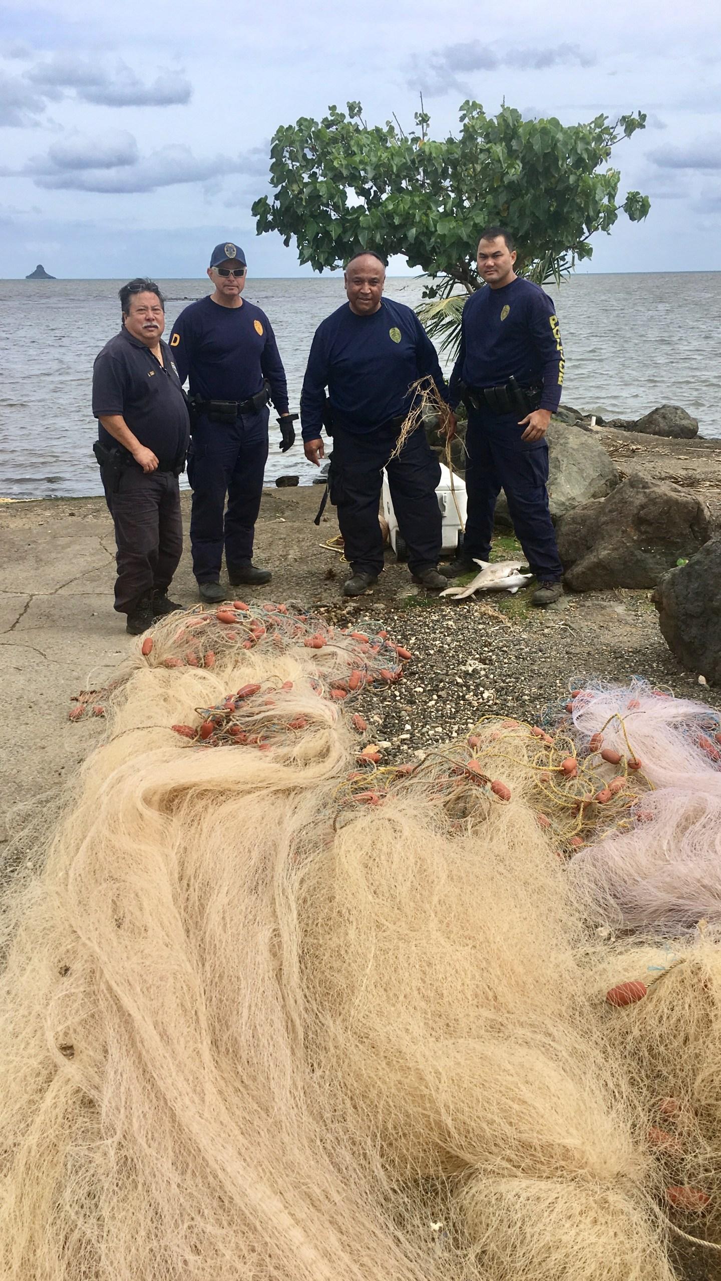 Lay nets at Wailupe Beach Park