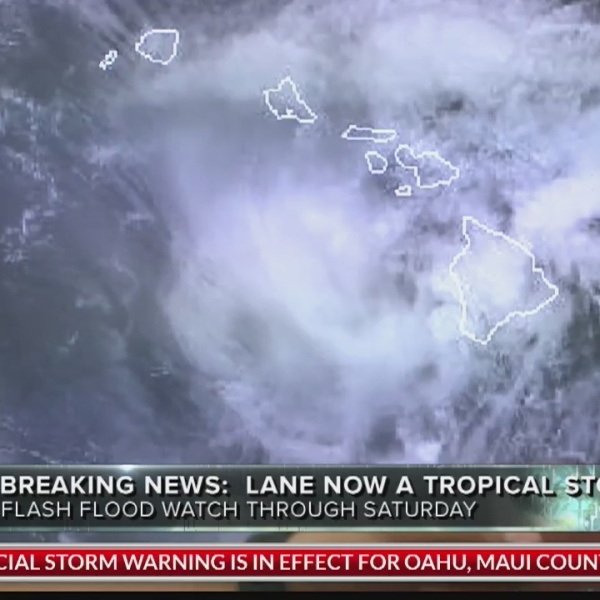 5 p.m. Lane downgraded from a hurricane to tropical storm