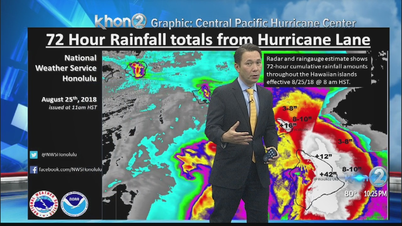 TS Lane continues to move away from Hawaii as portions of Big Island, Maui experience heavy rain