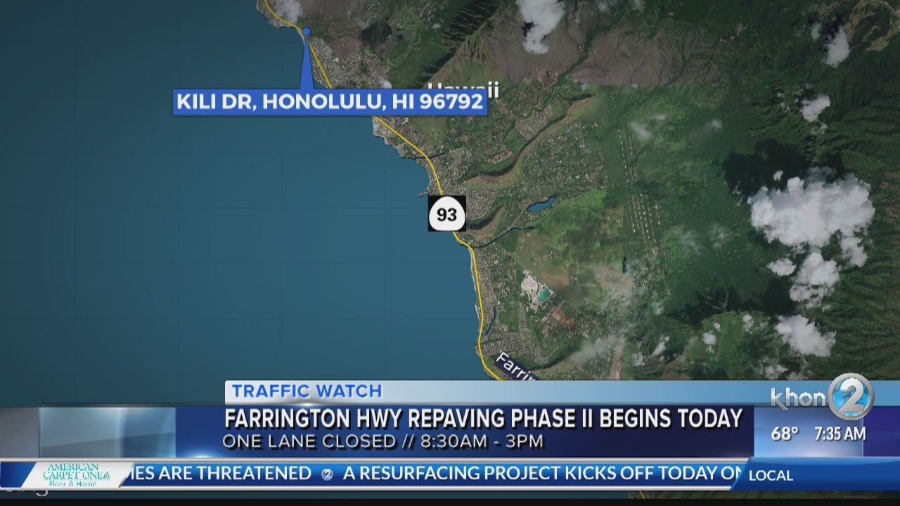 Farrington Highway Resurfacing Phase II begins today