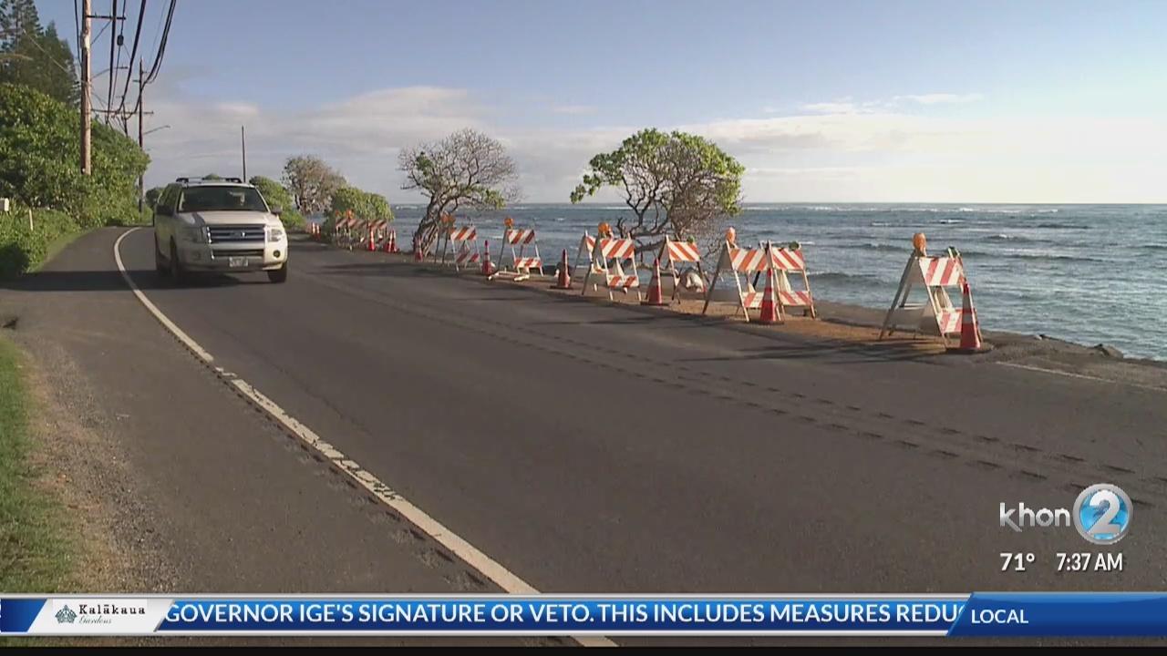 Shoreline repairs continue on Kamehameha Highway