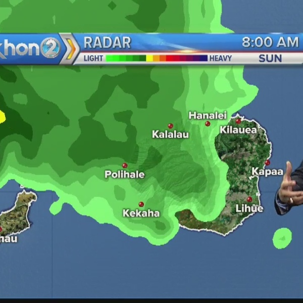 Heavy showers and thunderstorms over Kaua'i