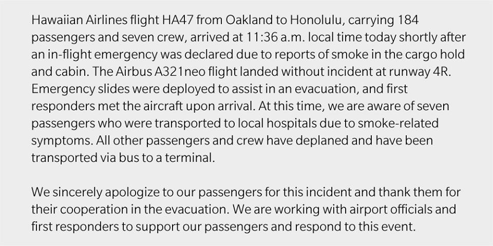 Hawaiian Airlines releases statement on emergency landing