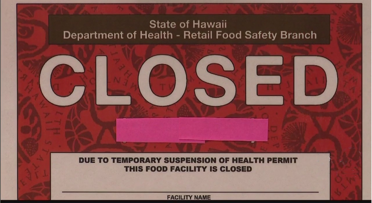 DOH issues Honolulu restaurant second red 'closed' placard; Failed to pay $3k fine